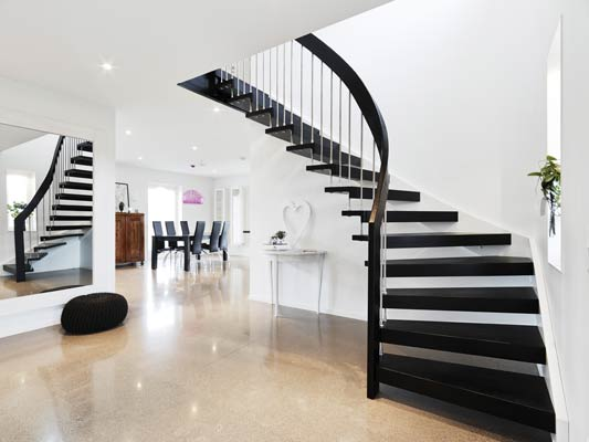 Black timber staircase