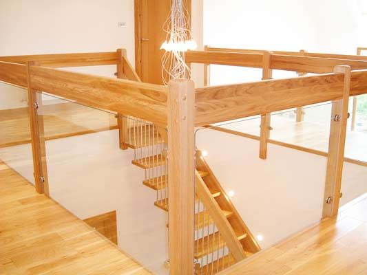 Glass and Oak Landing Balustrade