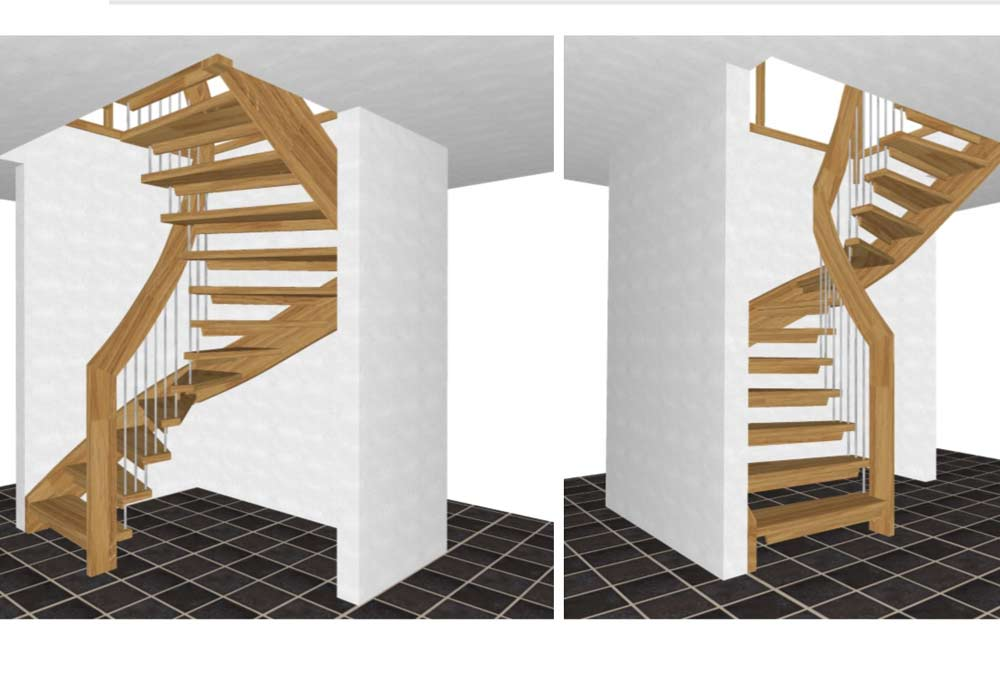Half-Turn-Staircase-3-D-drawings