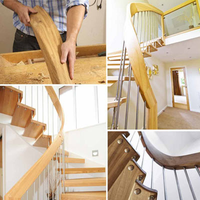 curved wooden handrail