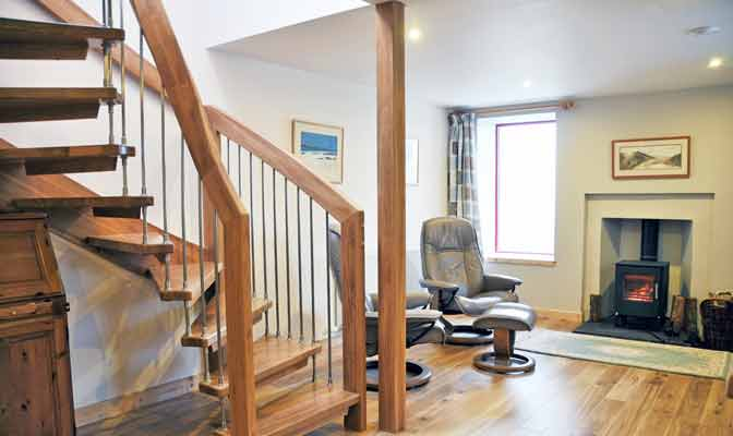 Rustic Oak Open Stair